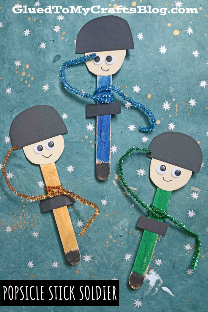 Popsicle Stick Soldier Puppet - Military Kid Craft