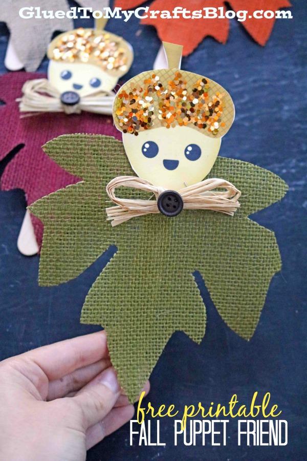 Fall Acorn Friend Puppets - Fall Kid Craft Idea w/Freebie