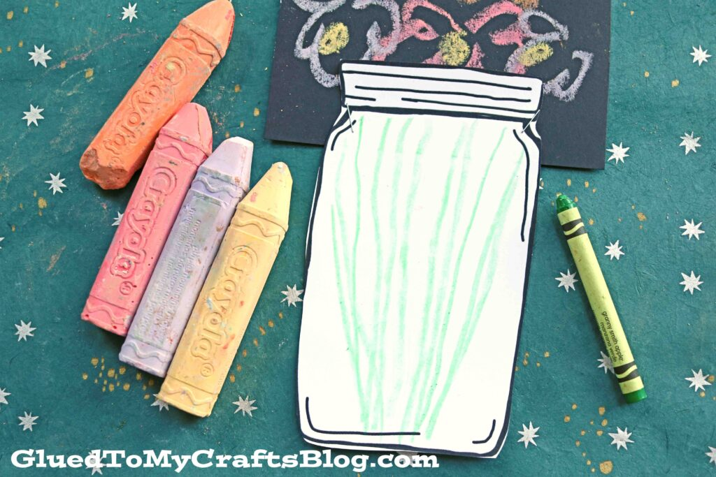 Sidewalk Chalk Art Flowers In Mason Jar - Kid Craft Idea