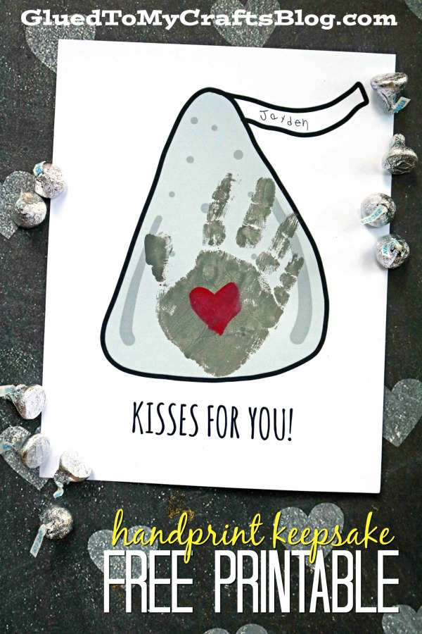 Kisses For You - Handprint Keepsake Printable