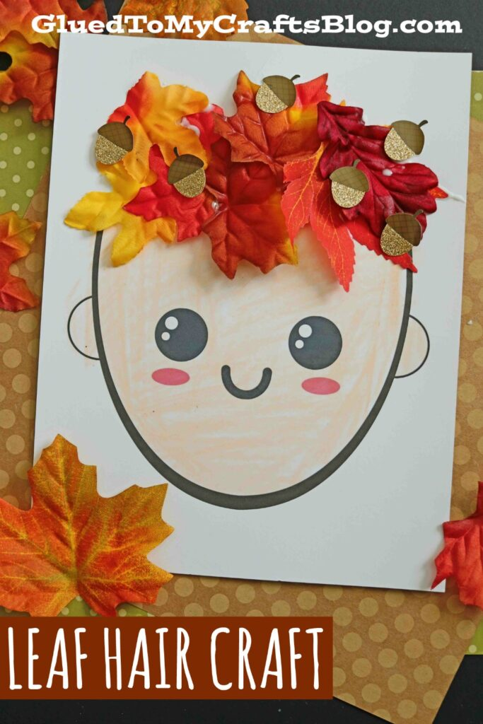 Mixed Media Leaf Hair and Crown - Fall Kid Craft