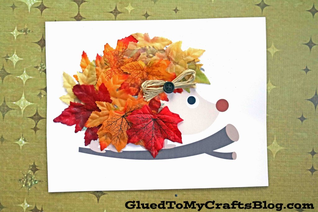 Leaf Covered Hedgehog - Fall Kid Craft