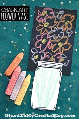 Chalk Art Flower Vase - Kid Craft Idea