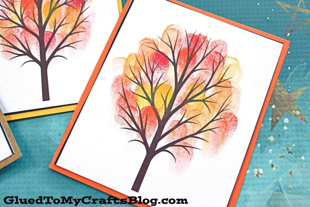 Beautiful Thumbprint Fall Tree Cards - Kid Craft