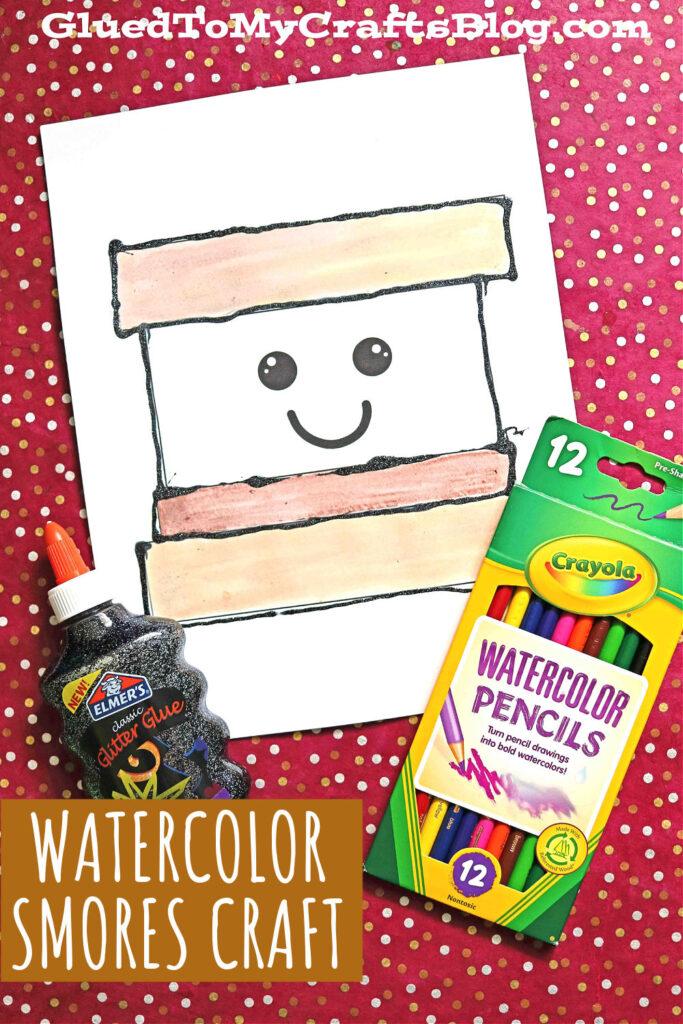 Black Glue & Watercolor S'mores Friend - Kid Craft