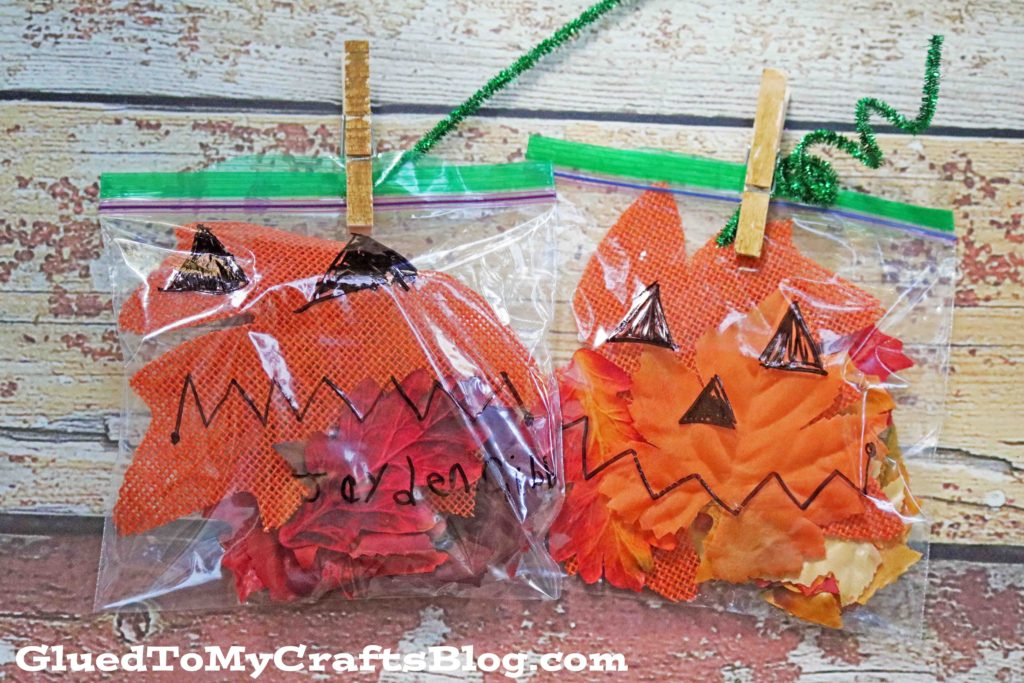 Super Easy Plastic Baggie & Leaves Jack-O-Lantern