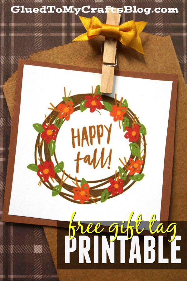 Happy Fall - Autumn Wreath Gift Tag Printable