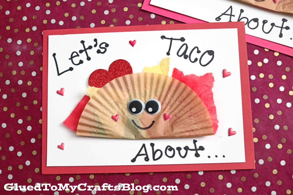 Cupcake Liner Taco Friend Card Idea For Kids To Make