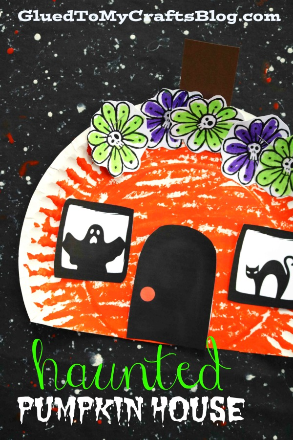 Paper Plate Haunted Pumpkin House - Kid Craft