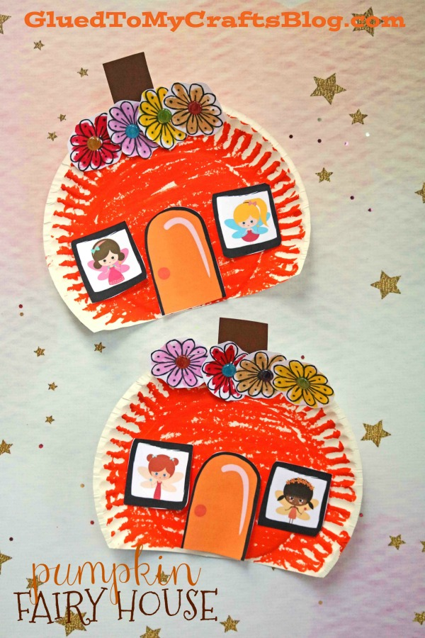 Paper Plate Pumpkin Fairy House - Kid Craft