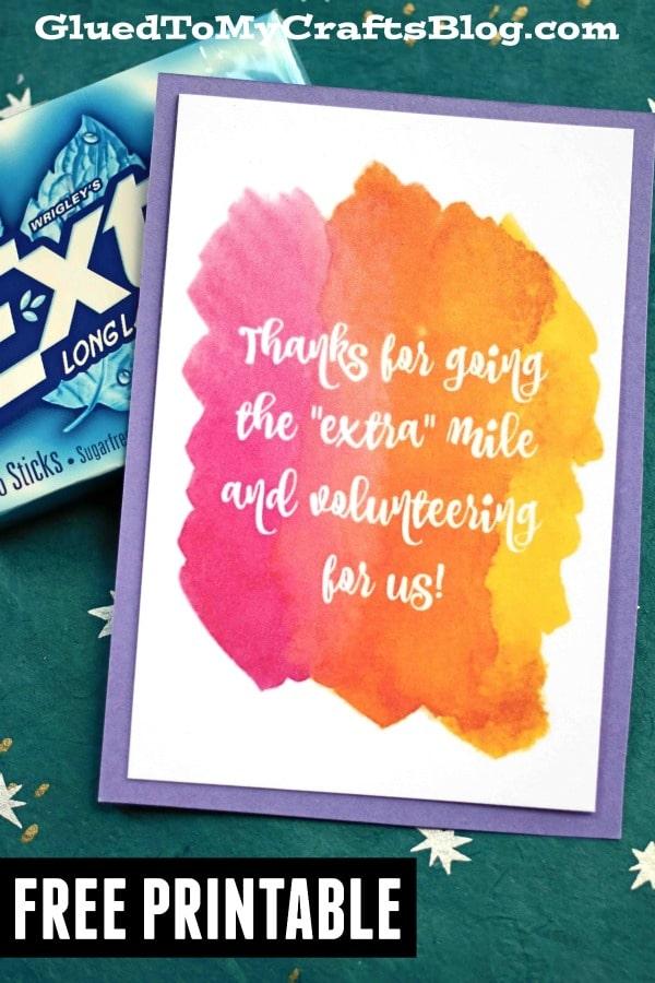 Extra Mile - Volunteer Gift Tag Printable