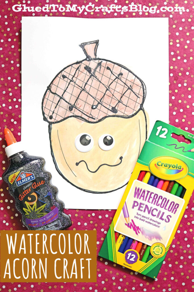Black Glue & Watercolor Acorn - Free Coloring Page For Kids