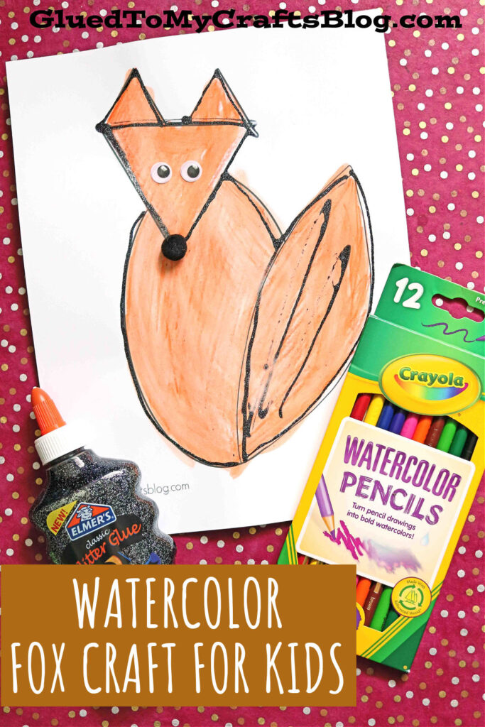 Black Glue Watercolor Fox - Fast, Easy Step Up Kid Craft Idea