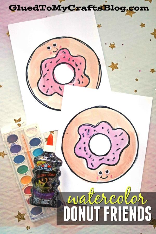 Black Glue & Watercolor Donut Friends - Paper Kid Craft Idea