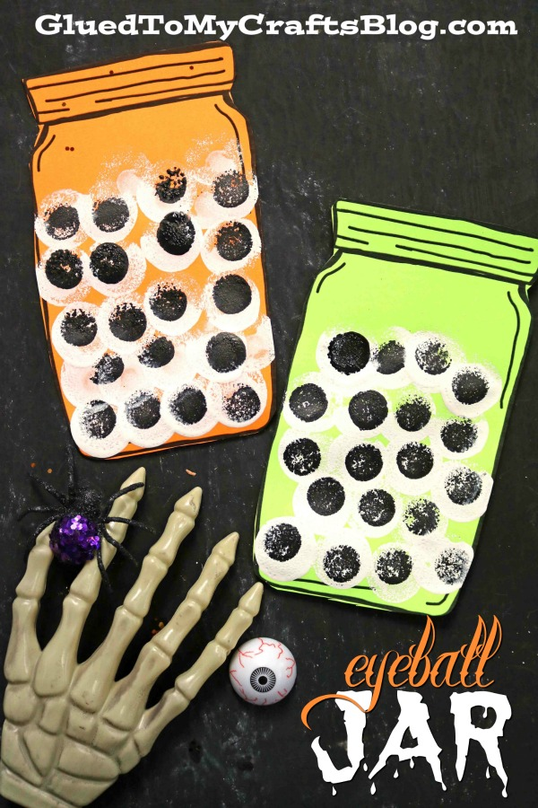 Stamped Eyeball Jar - Halloween Kid Craft