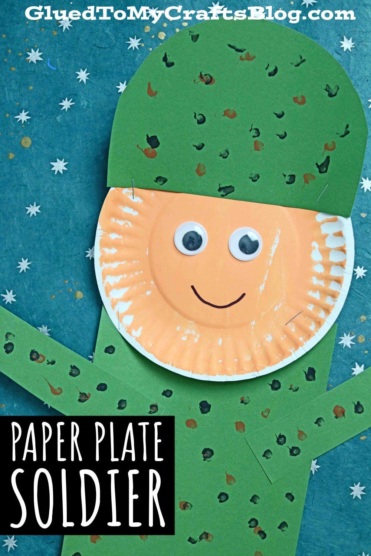 Super Easy Paper Plate Soldier - Veteran's Day Kid Craft Idea