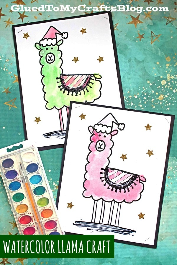 Paper & Watercolor Holiday Llama - Kid Craft