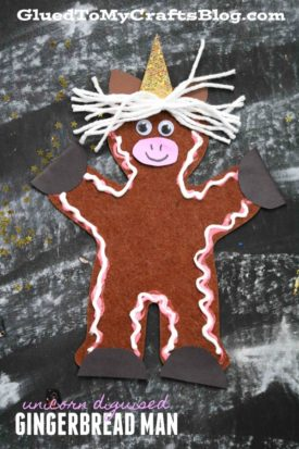 Unicorn Disguised Gingerbread Man - Kid Craft