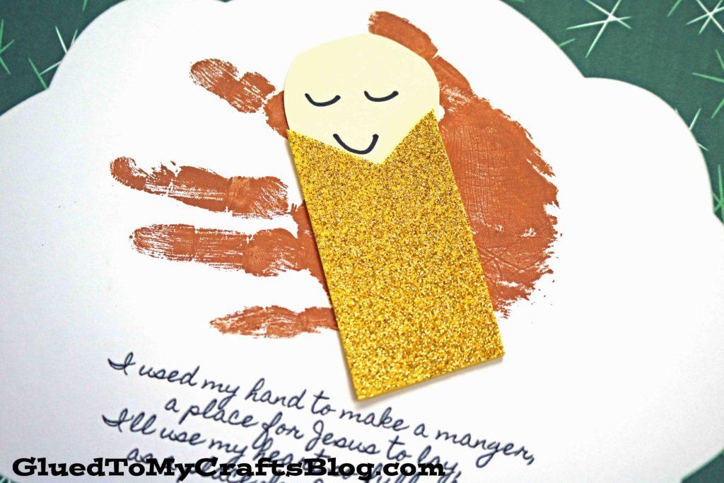 Handprint Baby Jesus In A Manger Keepsake Printable