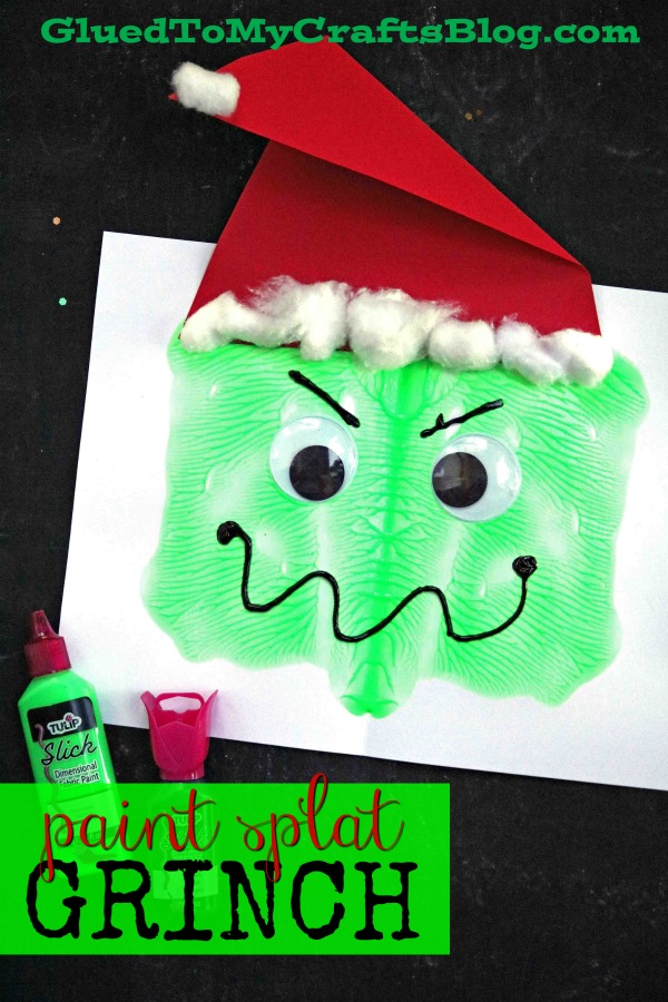 Paper & Paint Splat Grinch Face - Christmas Kid Craft Idea