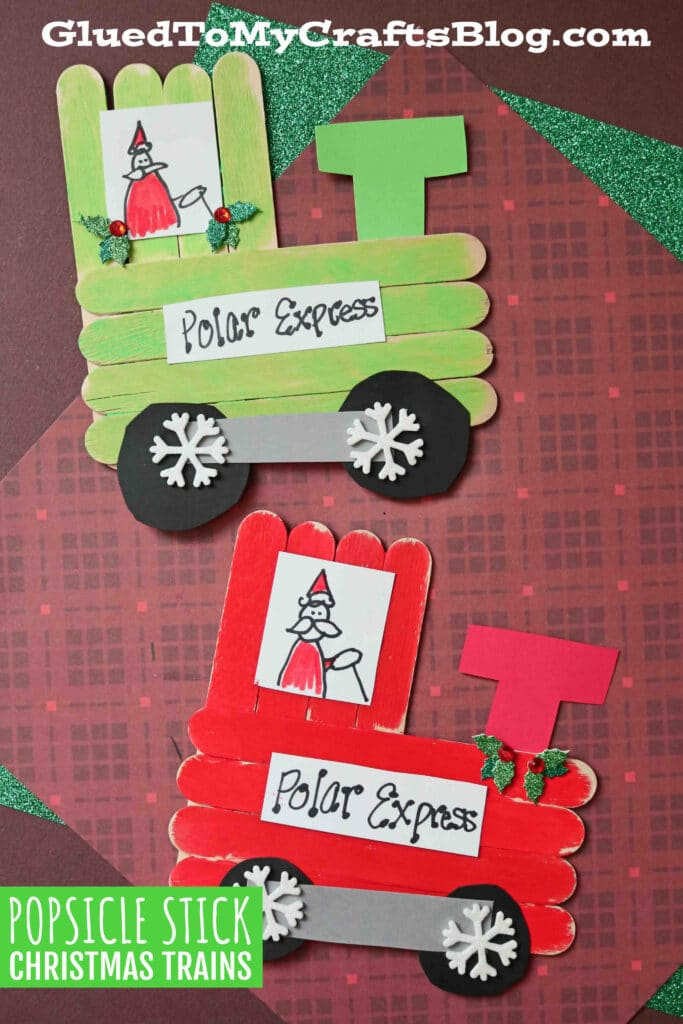Popsicle Stick Christmas Trains - Kid Craft
