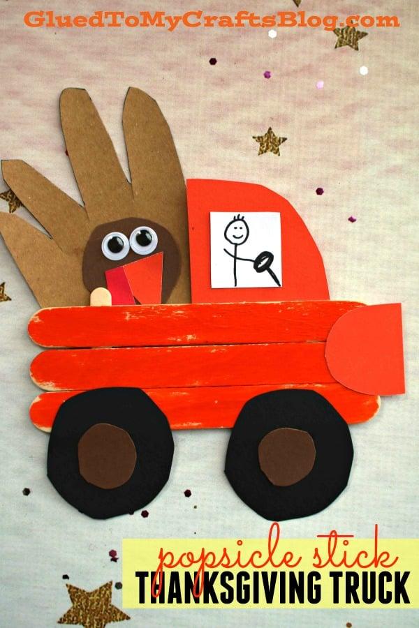Popsicle Stick Thanksgiving Truck w/Handprint Turkey - Kid Craft