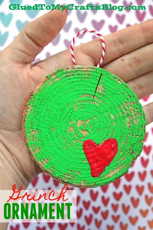 DIY Wood Slice Grinch Ornament For The Christmas Tree