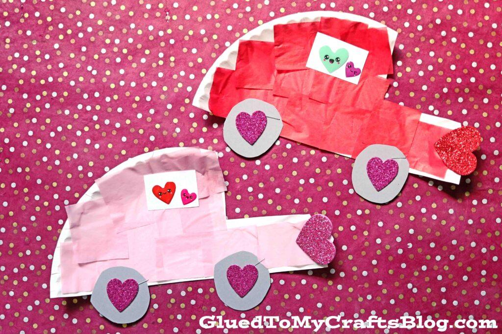 Paper Plate Love Bug Cars - Valentine's Day Kid Craft Idea