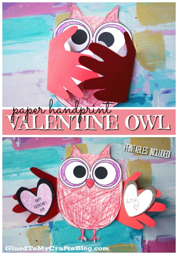 Paper Valentine Holding Owl - Kid Craft