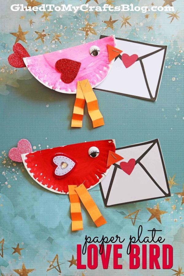 Paper Plate Valentine Love Note Bird - Kid Craft