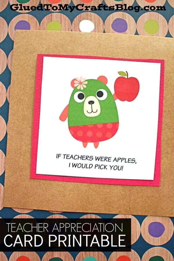 Teacher Appreciation Apple Themed Gift Tag Printable
