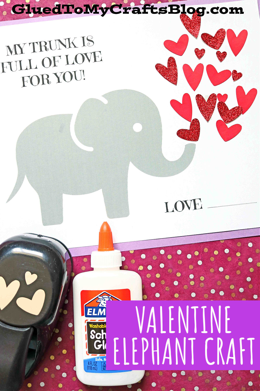 Elephant Trunk Full of Love - Paper Valentine Craft Idea For Kids To DIY