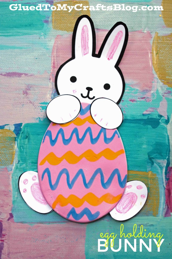 Simple Paper & Craft Foam Easter Egg Holding Bunny - Kid Craft