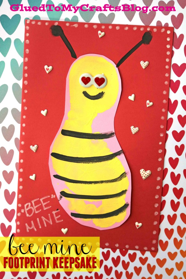 Footprint Bee Mine Valentine's Day Card