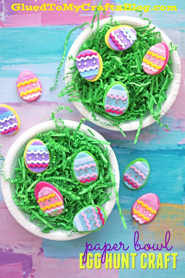 Paper Bowl Easter Egg Hunt - Easter Grass Kid Craft Idea
