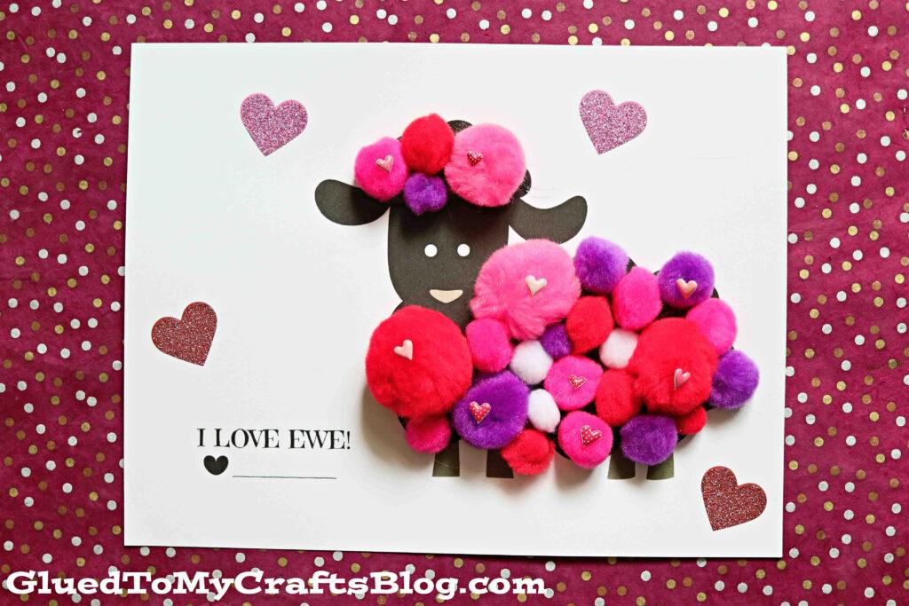 Pom Pom Valentine Lamb - I Love EWE Kid Craft Idea