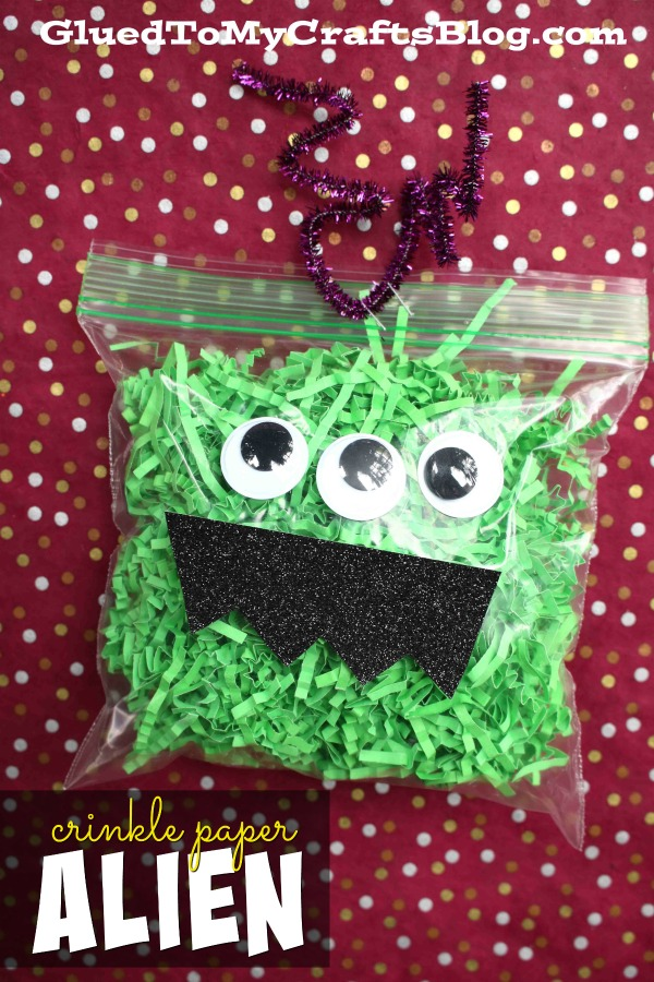 Crinkle Paper Alien Monster - Kid Craft Idea