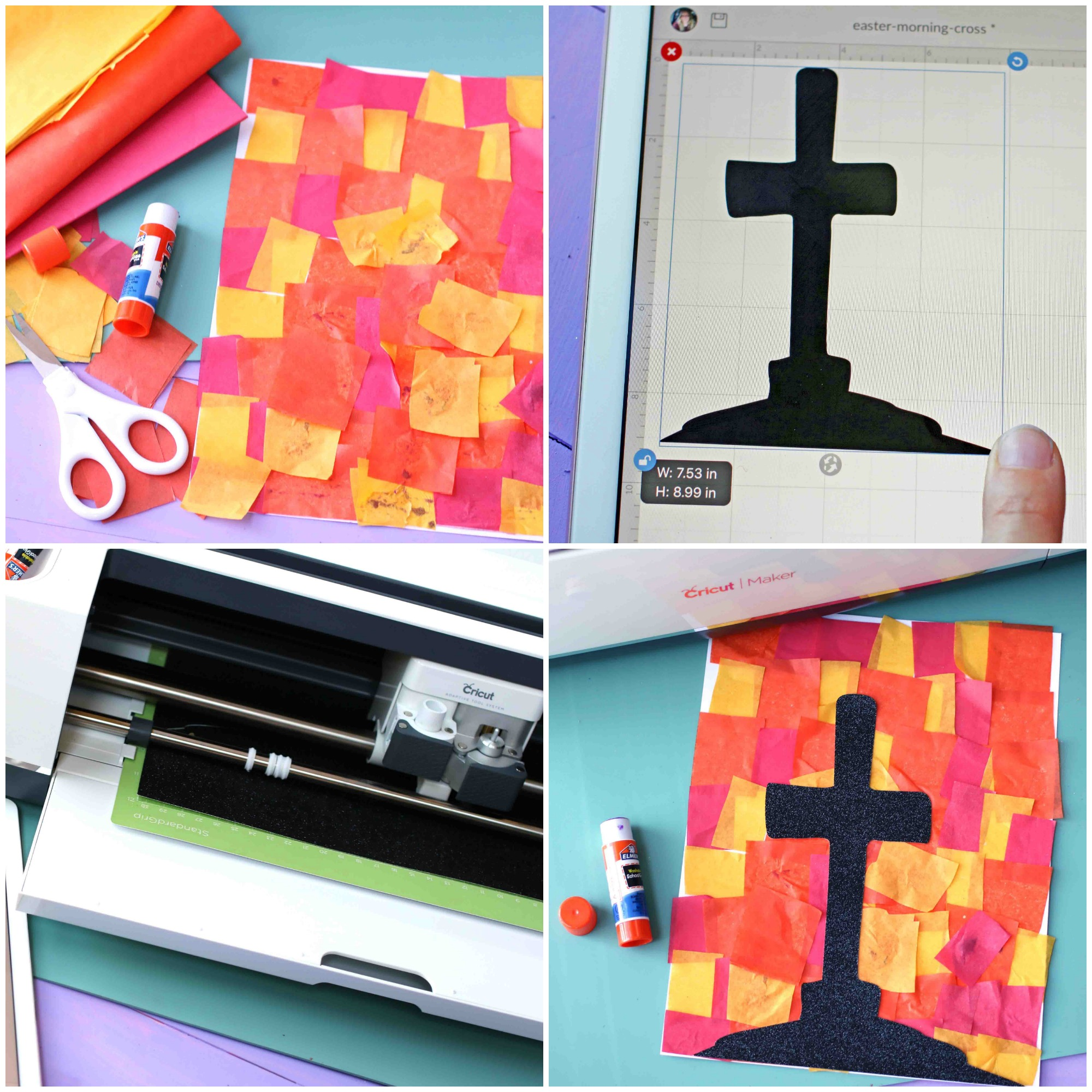 Paper Easter Sunrise and Cross - Kid Craft Idea