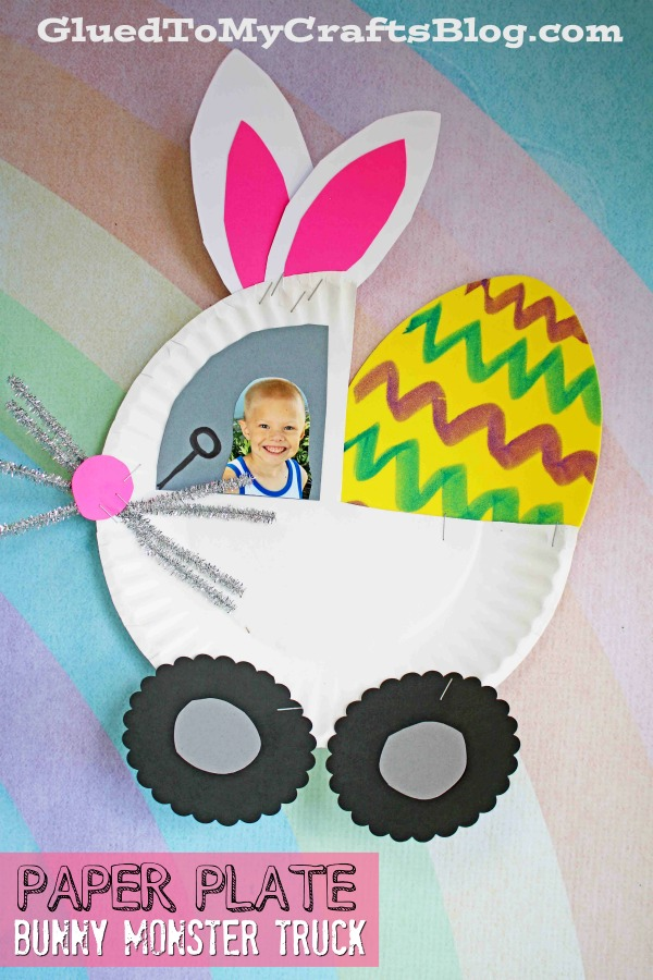 Paper Plate Bunny Monster Truck - Kid Craft Idea For Easter