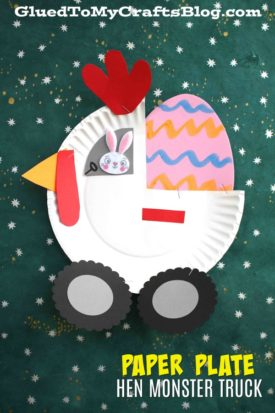 Paper Plate Hen Monster Truck - Kid Craft