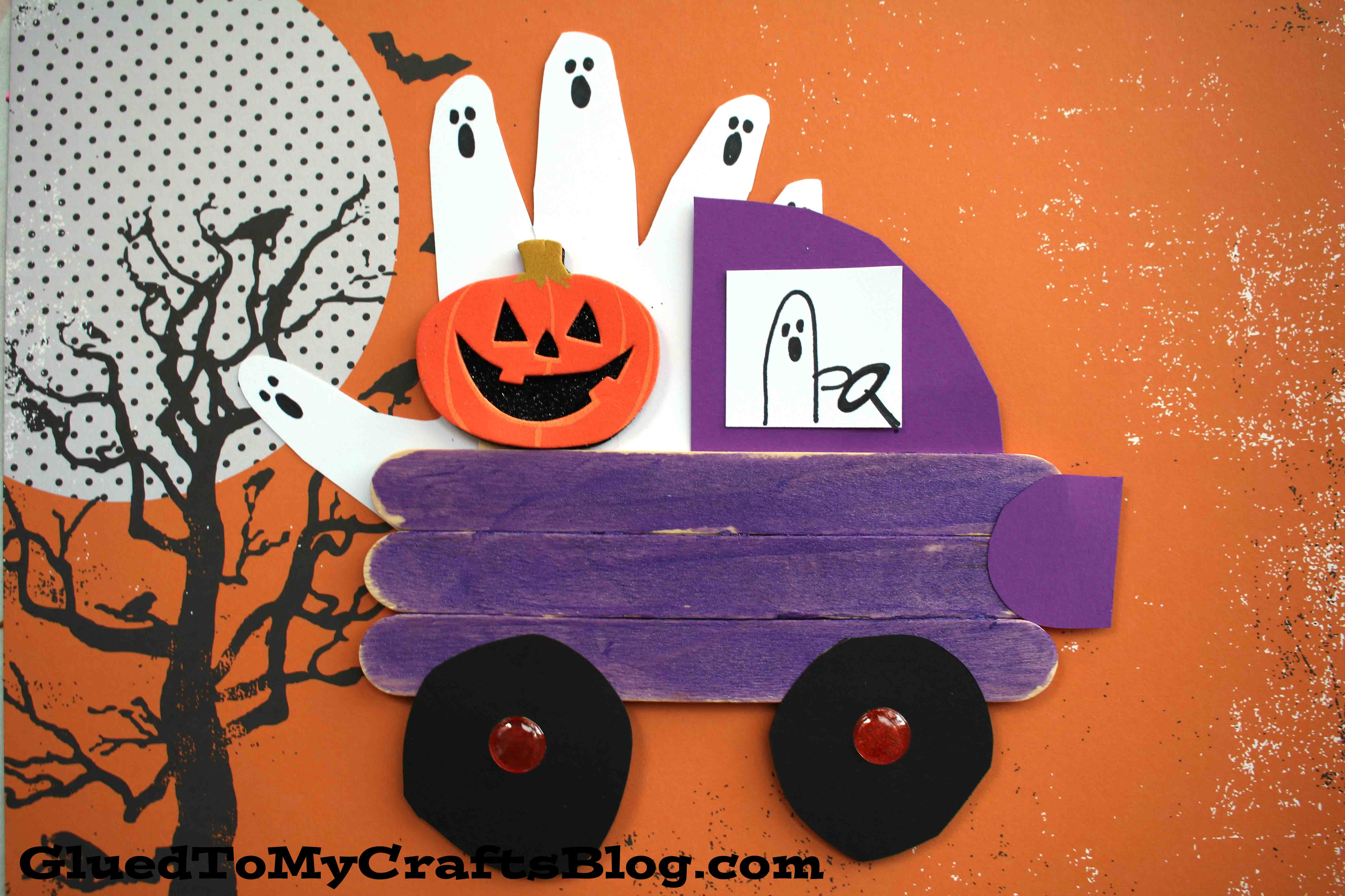 Popsicle Stick Halloween Truck - Kid Craft