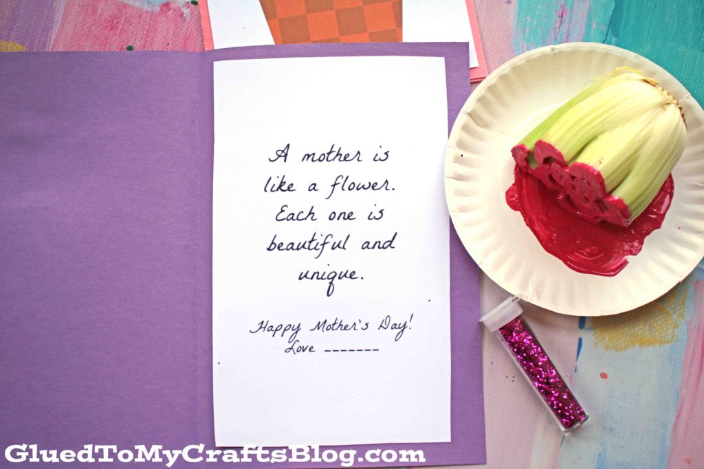 Celery Printed Mother's Day Flower Card - Kid Craft