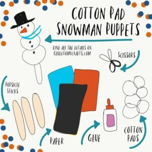 Cotton Pad Snowman Puppets - Kid Craft Idea