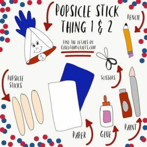 Popsicle Stick Thing 1 & 2 Kid Craft Idea