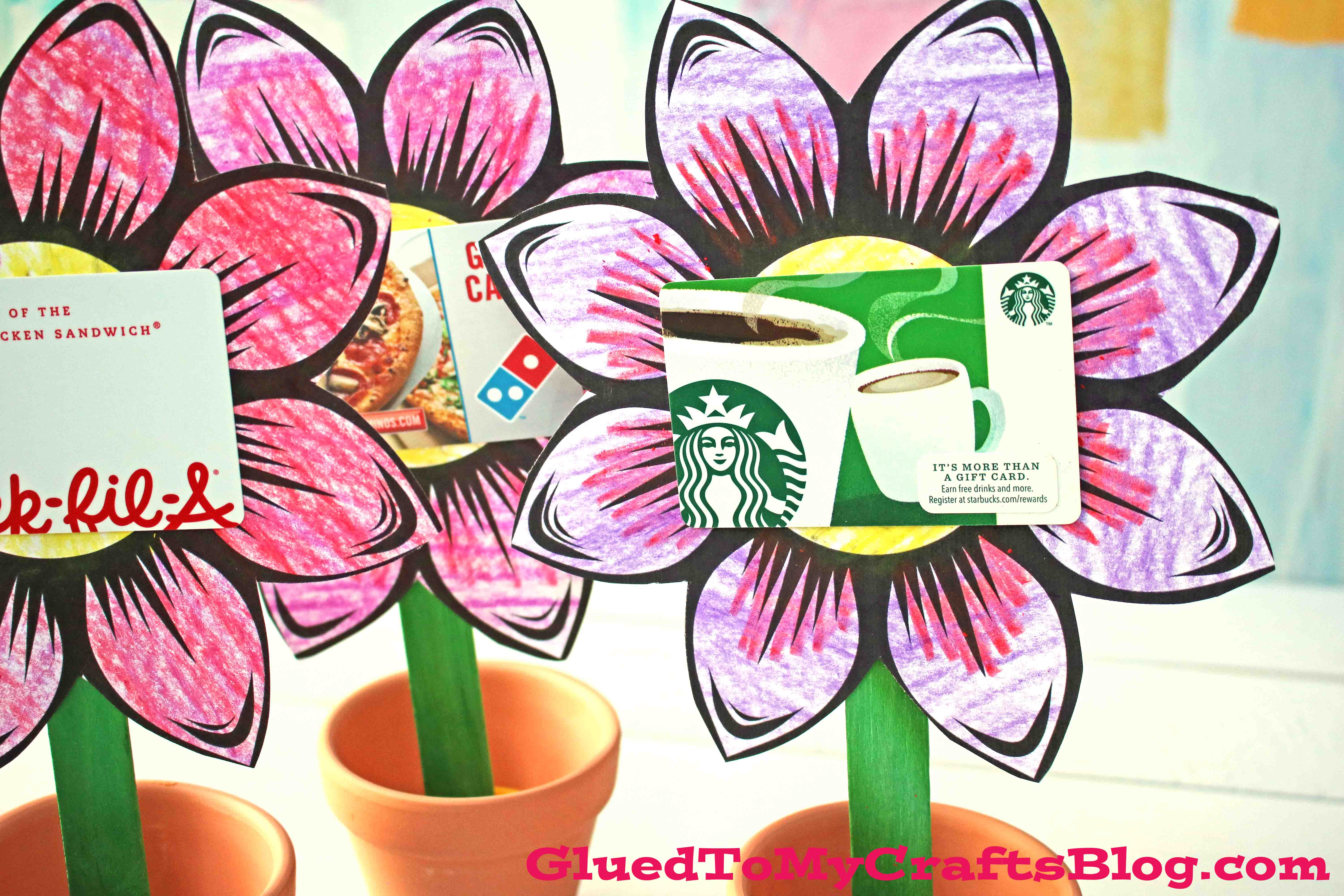 kid made paper flower gift card holder for mother's day