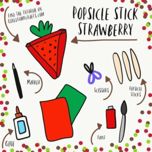 Popsicle Stick Strawberry - Kid Craft Idea