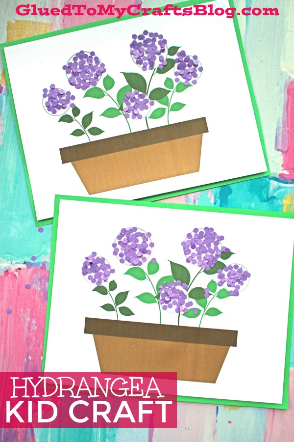 Easy To Assemble Paper Confetti Hydrangea Flowerpot Craft For Kids