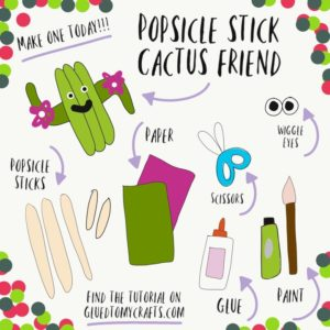 Popsicle Stick Cactus Friend - Kid Craft Idea