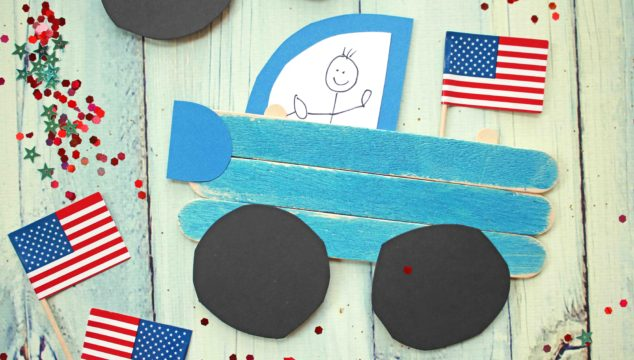 Popsicle Stick Patriotic Truck - Kid Craft
