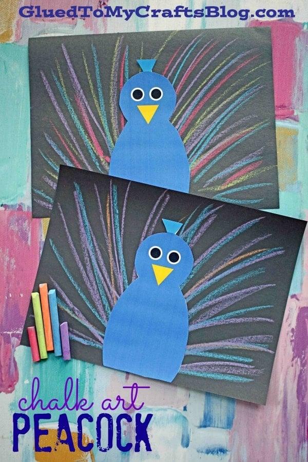 Chalk Art Peacock - Super Unique Paper Kid Craft Idea